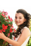 Girl holding flowers Royalty Free Stock Images