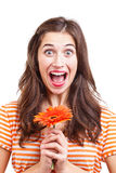 Girl holding flowers Stock Photo