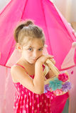 Girl holding flowers bag Royalty Free Stock Images