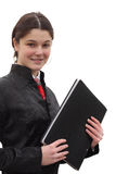 Girl holding folder Stock Images