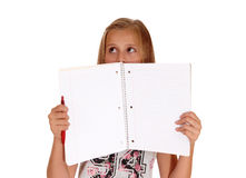 Girl holding folder for face. Stock Images