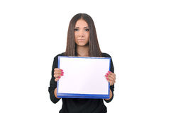 Girl holding a folder with paper Royalty Free Stock Photography