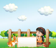 A girl holding a framed banner near the fence. Illustration of a girl holding a framed banner near the fence Stock Photography