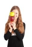 Girl holding fresh apple Stock Photos