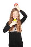 Girl holding fresh apple Royalty Free Stock Photography