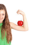 Girl holding fresh apple Royalty Free Stock Images