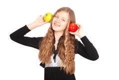 Girl holding fresh apple Royalty Free Stock Photo