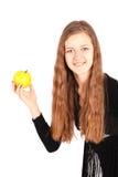 Girl holding fresh apple Royalty Free Stock Image