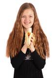Girl holding fresh banana Stock Photography