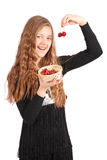 Girl holding fresh cherries Royalty Free Stock Images