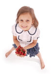 Girl holding fresh sweet cherries Stock Photo