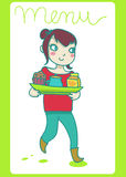 Girl holding  full  tray. Smiling girl holding a full tray with cupcake and two beverages. Vector Royalty Free Stock Image
