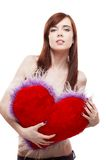Girl holding fur red heart Royalty Free Stock Images