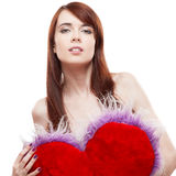 Girl holding fur red heart Stock Photo