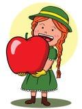 Girl holding giant apple Stock Photo
