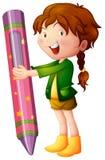 Girl holding giant crayon Stock Photography