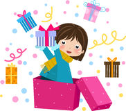 Girl Holding Gift box Stock Images