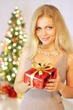 Girl Holding Gift Box Royalty Free Stock Image