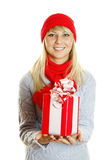 Girl holding gift box Royalty Free Stock Photos