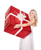 Girl holding  gift box .. Stock Image