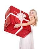 Girl holding  gift box .. Stock Image