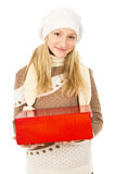 Girl holding a gift box Stock Photo