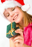 Girl holding a gift box Royalty Free Stock Photo