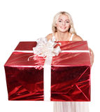 Girl holding  gift box .. Royalty Free Stock Photography