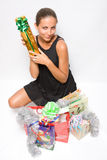 Girl holding gift boxes Royalty Free Stock Photo