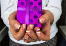 Girl holding a gift in her hands. A girl holding a gift in her hands Royalty Free Stock Photography