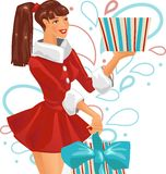 The girl is holding a gift. Vector illustration Stock Photo