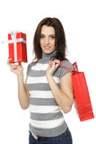 Girl holding gifts Stock Photos