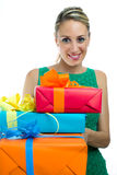 Girl holding gifts Royalty Free Stock Photo