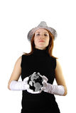 Girl holding glass globe isolated Stock Photo