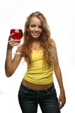 Girl holding  glass of wine Stock Image