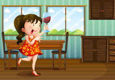 A girl holding a glass of wine Royalty Free Stock Photography