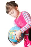 Girl holding globe Royalty Free Stock Photos