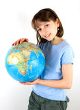 Girl holding a Globe Stock Photos