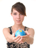 Girl holding a globe Stock Photography