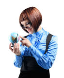 Girl holding globe, isolated on white background Stock Image