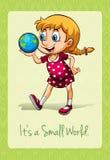 Girl holding globe on palm Royalty Free Stock Photography