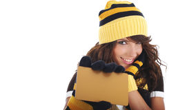 Girl holding gold credit card Royalty Free Stock Image