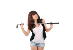 Girl holding a golf club and ball Royalty Free Stock Photo