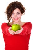 Girl holding a green apple - diet series Royalty Free Stock Photography