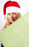 Girl holding green board Royalty Free Stock Photo