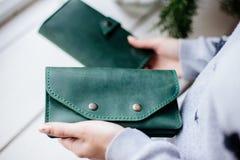 Girl holding a green money wallet. stock photos