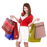 Girl holding group shopping bag. Stock Image