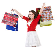 Girl holding group shopping bag. Royalty Free Stock Images