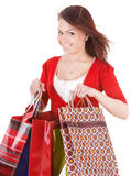Girl holding group shopping bag. Stock Photo