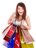 Girl holding group shopping bag. Royalty Free Stock Photos
